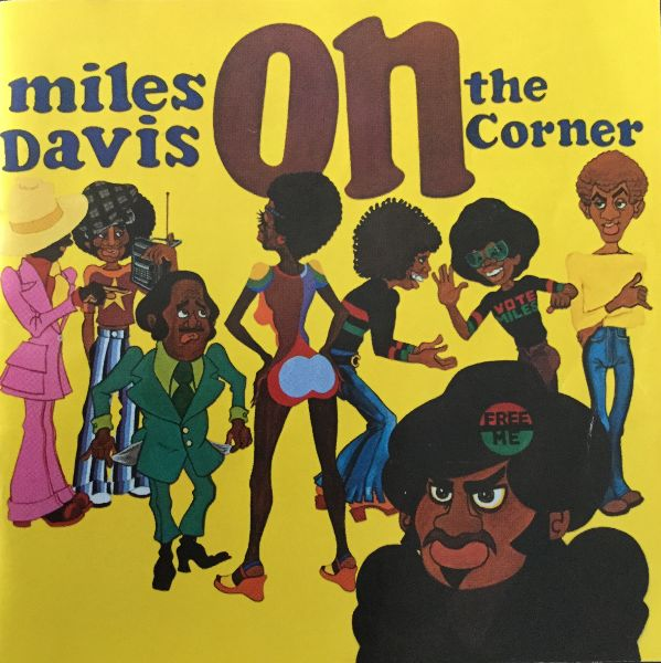 "Albumn cover with cartoonish drawings of Black men and women in seventies dress. The word ""on"" features prominently."