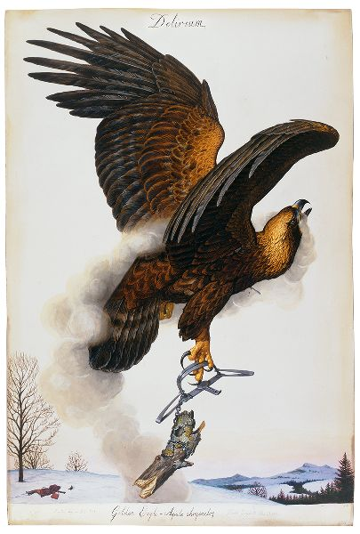 Painting of a golden eagle in flight, smoke issuing from its mouth. One of its legs is enclosed within a steel trap.