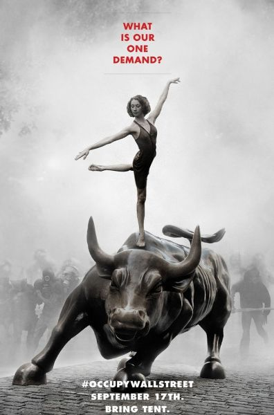 Poster of a woman dancing on top of the bronze Wall Street charging bull statue