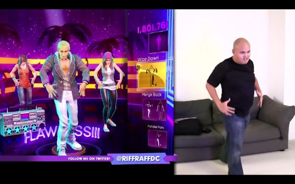 Composite image of a man performing a dance move on the right, and on the left a shot of a video game avatar she is attempting to mimic