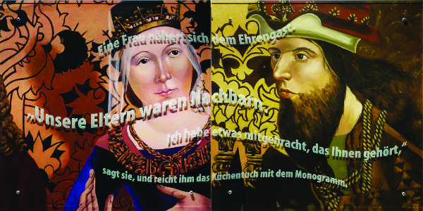 A diptych showing two figures in medieval garb: on the left a woman with a crown; on the right a bearded nobleman. German text floats over both components of the image.