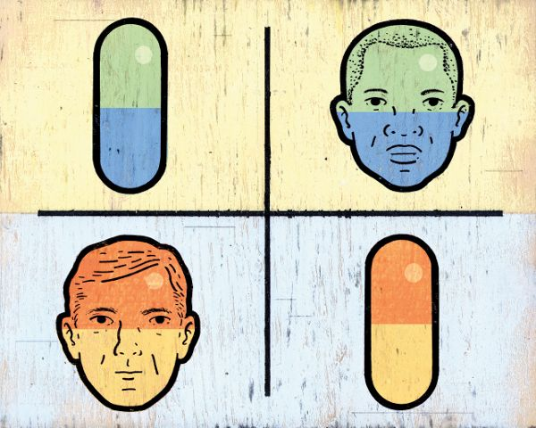 An illustrated diagram broken into four quadrants. The upper two are colored blue and green; the lower two are orange and yellow. In the top left and lower right there is a drawing of a medicine capsule oriented vertically. In the upper right and lower left there are depictions of men's faces, a black man and a white man, respectively, both middle aged.