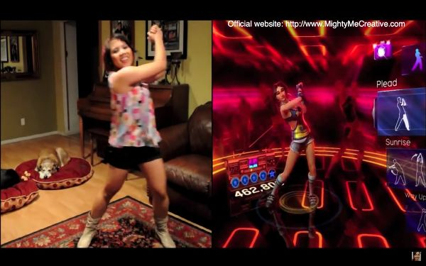 Composite image of a woman performing a dance move on the left, and on the right a shot of a video game avatar she is attempting to mimic