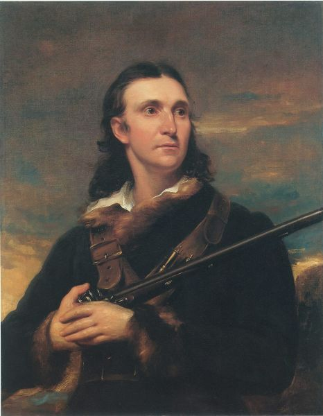 Painting of a white man with long hair looking into the distance. He's wearing a blue, furred overcoat and holding a riffle.