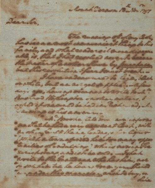 Handwritten letter, cursive, in brownish ink on parchment