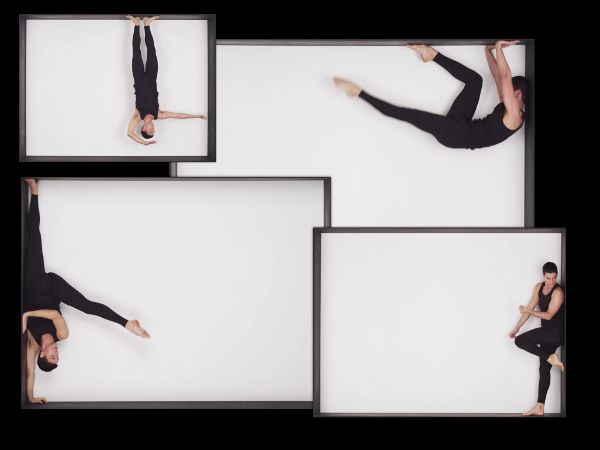 Composite image of Jonah Bokaer dancing within a rectangular space