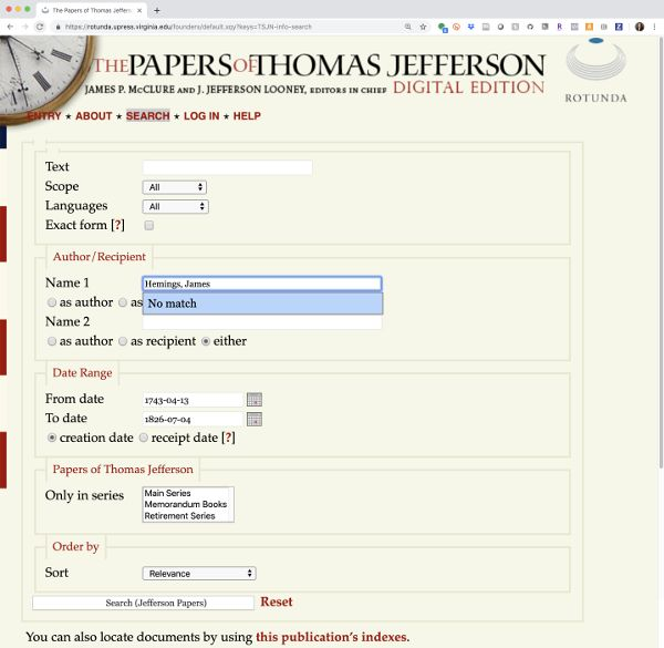 Screen capture of the search page on the website for the Papers of Thomas Jefferson Digital Edition