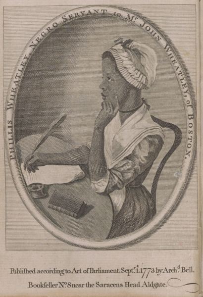 An ink drawing of a blank woman seated a desk, writing with a quill