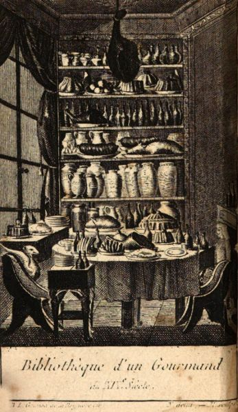 Ink drawing depicting dining table within a library that is stocked with food instead of books