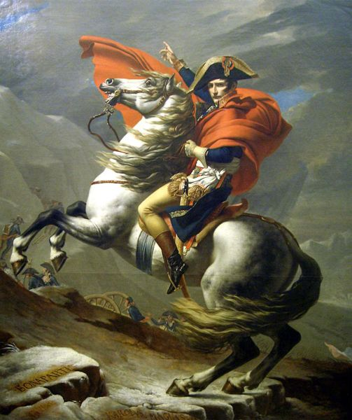 Painting of Napoleon in full military uniform atop a white horse. The horse is pivoted onto its hind legs, and Napoleon, pointing skyward with his freehand, is looking toward the viewer.