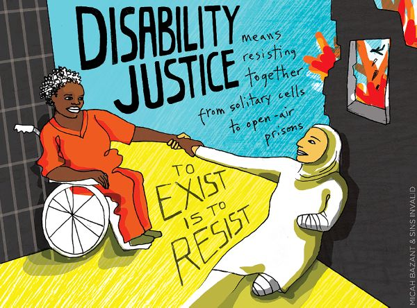 Disability justice painting by Micah Bazant and Sin Invalid