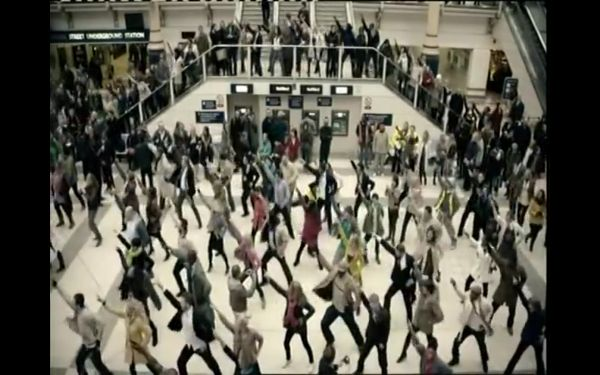 Screenshot of a dance mob from a T-Mobile commercial