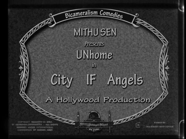 "A graphic image serving as a callback to a production credit stamp that showed ahead of early motion pictures. The seal reads ""Bicamerlism Comedies. Mithusen Presents UNhome in City If Angels. A Hollywood Production."""