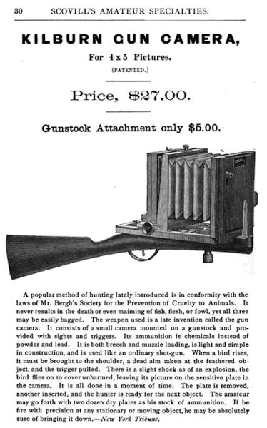 Nineteenth century advertisement that features a drawing of a gun camera: a rifle stock affixed to an accordion-style camera. The device is priced at $27.00, though the gunstock attachment is noted as only costing $5.00.