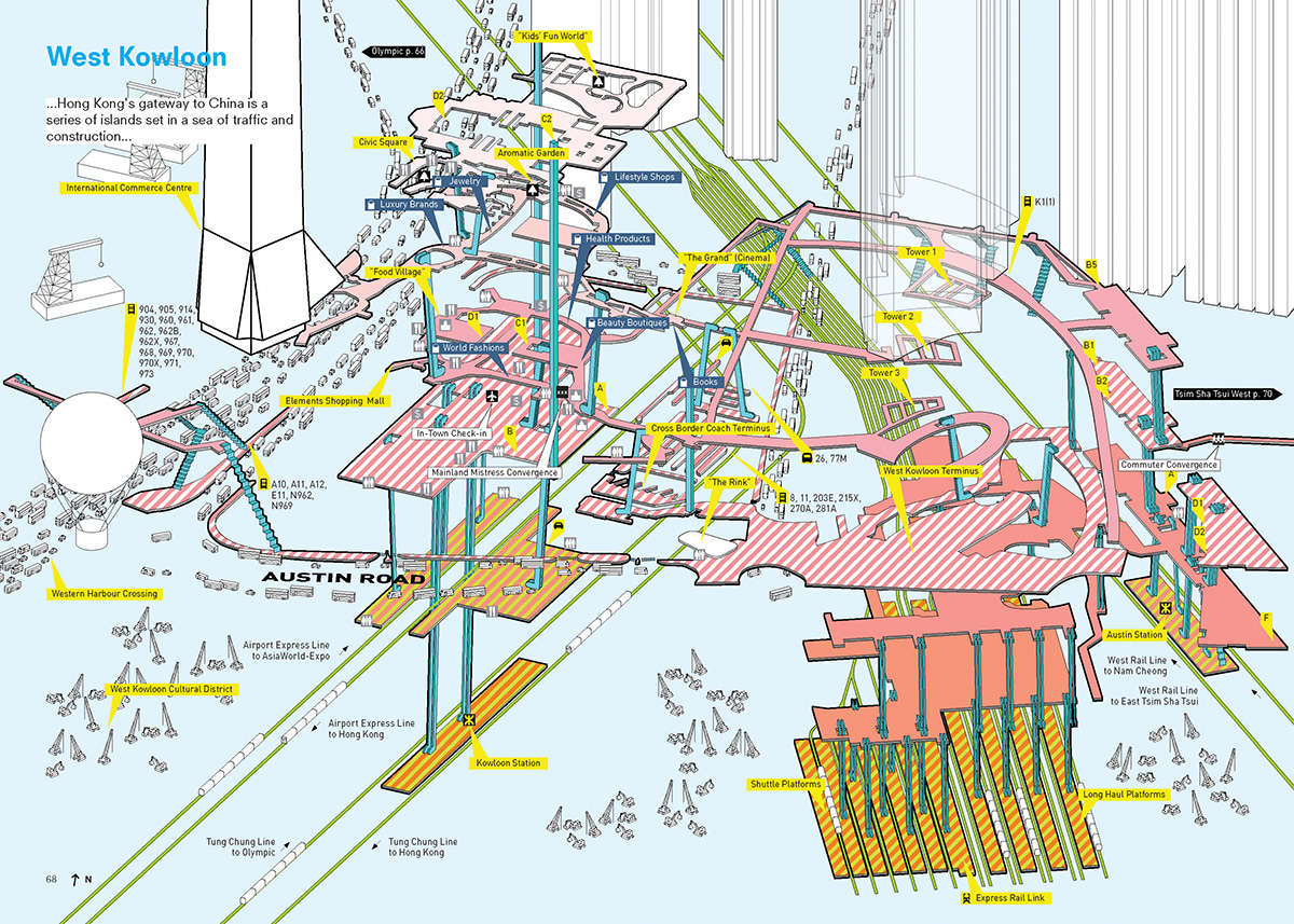 Cities without Ground spread depicting West Kowloon. Image by Adam Frampton, Jonathan D. Solomon, and Clara Wong.